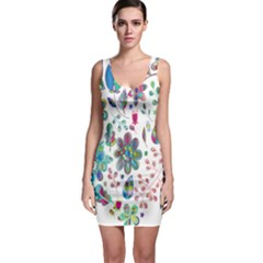 Prismatic Psychedelic Floral Heart Background Bodycon Dress by Mariart