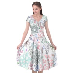Prismatic Neon Floral Heart Love Valentine Flourish Rainbow Cap Sleeve Wrap Front Dress by Mariart
