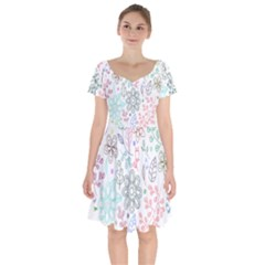 Prismatic Neon Floral Heart Love Valentine Flourish Rainbow Short Sleeve Bardot Dress