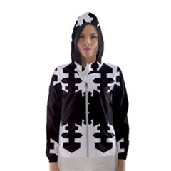 Snowflakes Black Hooded Wind Breaker (women)