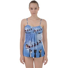 Christmas, Cute Cats Looking In The Sky To Santa Claus Babydoll Tankini Set by FantasyWorld7
