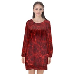 Simulation Red Water Waves Light Long Sleeve Chiffon Shift Dress