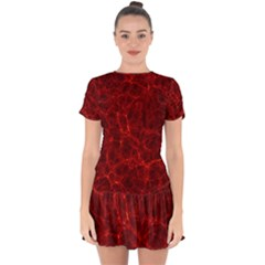 Simulation Red Water Waves Light Drop Hem Mini Chiffon Dress by Mariart