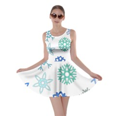 Snowflakes Blue Green Star Skater Dress by Mariart