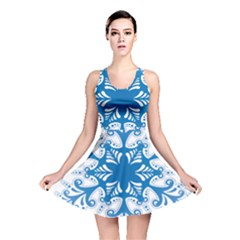 Snowflakes Blue Flower Reversible Skater Dress