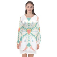 Snowflakes Heart Love Valentine Angle Pink Blue Sexy Long Sleeve Chiffon Shift Dress  by Mariart