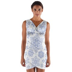 Snowflakes Blue White Cool Wrap Front Bodycon Dress