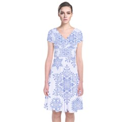 Snowflakes Blue White Cool Short Sleeve Front Wrap Dress by Mariart