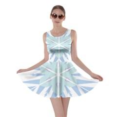 Snowflakes Star Blue Triangle Skater Dress