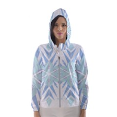 Snowflakes Star Blue Triangle Hooded Wind Breaker (women) by Mariart