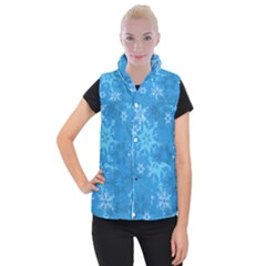 Snowflakes Cool Blue Star Women s Button Up Puffer Vest by Mariart