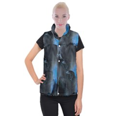 Space Star Blue Sky Women s Button Up Puffer Vest by Mariart
