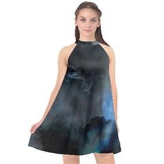Space Star Blue Sky Halter Neckline Chiffon Dress  by Mariart