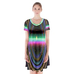 Spectrum Space Line Rainbow Hole Short Sleeve V Neck Flare Dress by Mariart