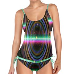 Spectrum Space Line Rainbow Hole Tankini Set by Mariart