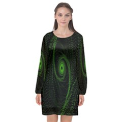 Space Green Hypnotizing Tunnel Animation Hole Polka Green Long Sleeve Chiffon Shift Dress