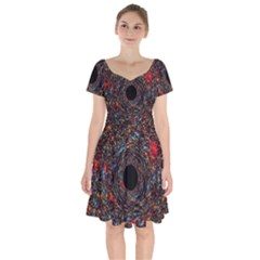 Space Star Light Black Hole Short Sleeve Bardot Dress