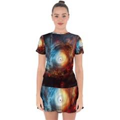 Supermassive Black Hole Galaxy Is Hidden Behind Worldwide Network Drop Hem Mini Chiffon Dress