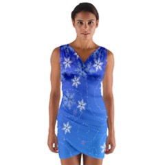 Winter Blue Snowflakes Rain Cool Wrap Front Bodycon Dress by Mariart