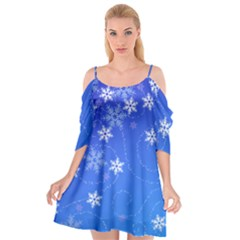 Winter Blue Snowflakes Rain Cool Cutout Spaghetti Strap Chiffon Dress by Mariart