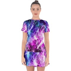 Space Galaxy Purple Blue Drop Hem Mini Chiffon Dress