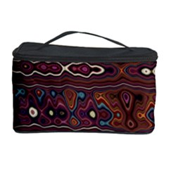 Hippy Boho Chestnut Warped Pattern Cosmetic Storage Case by KirstenStar