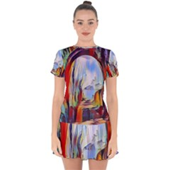 Abstract Tunnel Drop Hem Mini Chiffon Dress by 8fugoso
