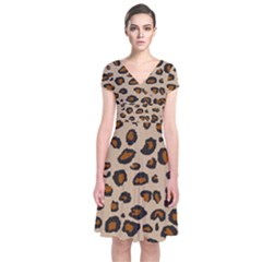 Leopard Print Short Sleeve Front Wrap Dress by TRENDYcouture