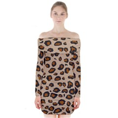Leopard Print Long Sleeve Off Shoulder Dress by TRENDYcouture