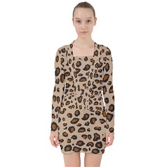 Leopard Print V Neck Bodycon Long Sleeve Dress by TRENDYcouture