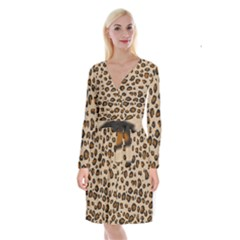 Leopard Print Long Sleeve Velvet Front Wrap Dress by TRENDYcouture