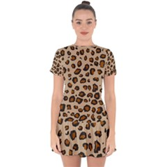 Leopard Print Drop Hem Mini Chiffon Dress by TRENDYcouture