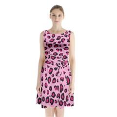 Pink Leopard Sleeveless Waist Tie Chiffon Dress by TRENDYcouture