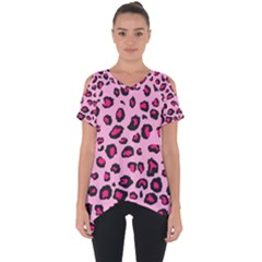 Pink Leopard Cut Out Side Drop Tee by TRENDYcouture
