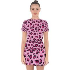Pink Leopard Drop Hem Mini Chiffon Dress by TRENDYcouture