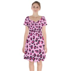 Pink Leopard Short Sleeve Bardot Dress by TRENDYcouture