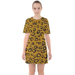 Golden Leopard Sixties Short Sleeve Mini Dress by TRENDYcouture