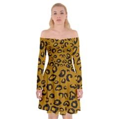 Golden Leopard Off Shoulder Skater Dress by TRENDYcouture
