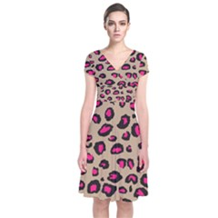 Pink Leopard 2 Short Sleeve Front Wrap Dress by TRENDYcouture