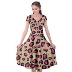 Pink Leopard 2 Cap Sleeve Wrap Front Dress by TRENDYcouture