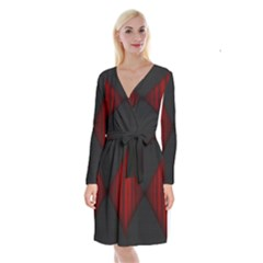 Black Red Door Long Sleeve Velvet Front Wrap Dress by Mariart