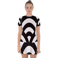 Circle White Black Drop Hem Mini Chiffon Dress by Mariart