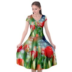 Colorful Flowers Cap Sleeve Wrap Front Dress by Mariart