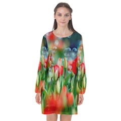Colorful Flowers Long Sleeve Chiffon Shift Dress  by Mariart