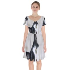 Cat Face Cute Black White Animals Short Sleeve Bardot Dress