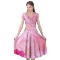 Cosmos Flower Floral Sunflower Star Pink Frame Cap Sleeve Wrap Front Dress