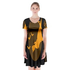 Day Hallowiin Ghost Bat Cobwebs Full Moon Spider Short Sleeve V Neck Flare Dress by Mariart
