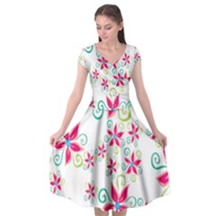 Flower Beauty Sexy Rainbow Sunflower Pink Green Blue Cap Sleeve Wrap Front Dress