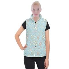 Flower Blue Butterfly Bird Yellow Floral Sexy Women s Button Up Puffer Vest