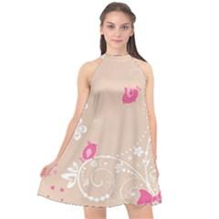 Flower Bird Love Pink Heart Valentine Animals Star Halter Neckline Chiffon Dress